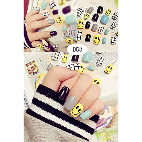 WEFH 24 Piezas Varios diseños delicados de uñas Falsas Lindo Parche de uñas Hermoso, D53