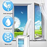 KIKIGOAL 400 cm Universal Window Seal for Portable Air Conditioner and Tumble Dryer – Works with Every Mobile Air-Conditioning Unit- Air Exchange Guards with Zip and Adhesive Fastener (Window 400CM)
