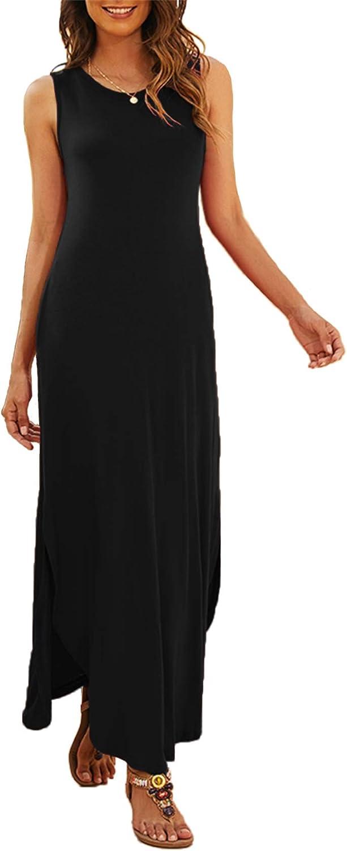 Hount Women's Casual Summer Sleeveless Dress Loose Split Maxi Dresses with Pockets