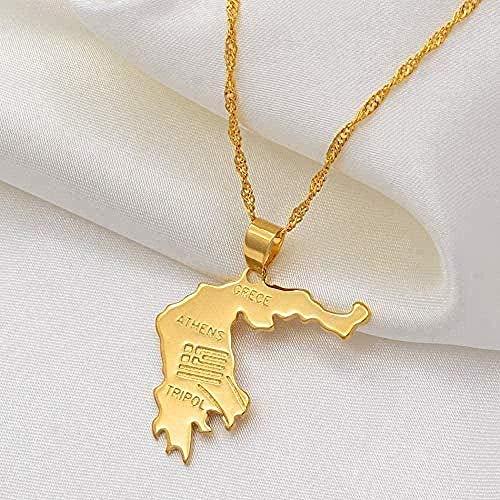 Yiffshunl Collar Grecia Mapa Colgantes Collares Color Oro Joyería Griega Collar Regalo