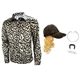 Joe Exotic Tiger King Button Shirt,Halloween Giallo Blu Paillettes Costume Cosplay Cappello Parrucca Uomo Set Completo