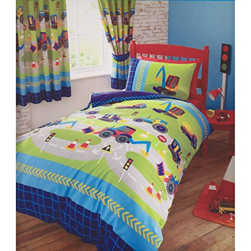 Diggers Kids Quilt Duvet Cover and Pillowcase Bed Set, Polycotton, Multi, Single