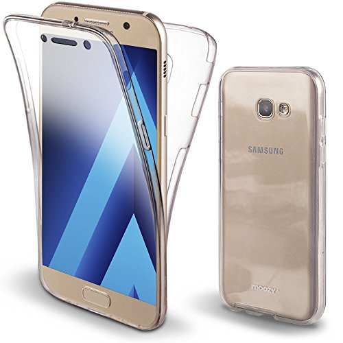 Moozy Funda 360 Grados para Samsung A3 2017 Transparente Silicona - Full Body Case Carcasa Protectora Cuerpo Completo