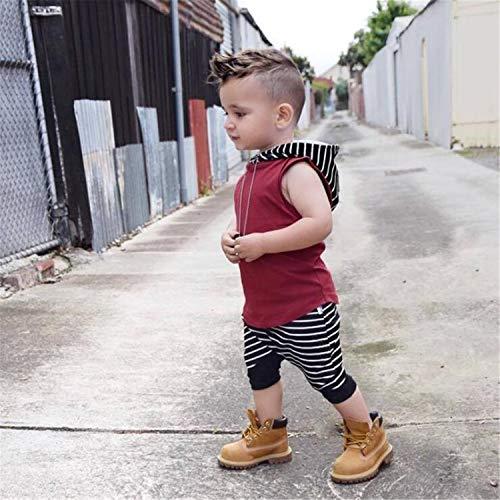 BABIFIS Vêtements de bébé garçon Enfant en Bas âge, Europe Amérique Enfants Set, Capuchon Rouge, T-Shirt sans Manches + Pantalon à Rayures, 0-36 Mois