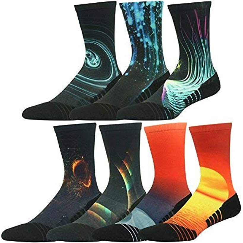 HUSO Unisex Fashion Digital Printing Sports Crew Hiking Socks 3, 4, 7 Pairs