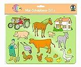 URSUS 44100003 Mal Set 3 für Kinder, 6 transparente Schablonen mit unterschiedlichen Motiven, Kunststoff und 6 farbige Motivvorlagen, bunt, 26,8 x 18,9 x 0,2 cm