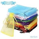 Wanap Bolsas Bolsitas de Organza, 120pcs 10x15cm Wedding Favor Bags Bolsas de Regalo para Fiestas, 12 Colores Bolsas para Joyas
