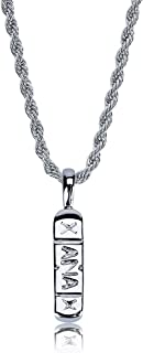 Hip Hop 14k Gold/Silver Plated Bling Fashion Xanax Pill ID Bar Pendant Necklace, 24