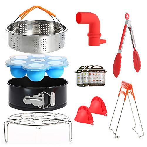 RAIN QUEEN Instant Pot Accessoires pour Autocuiseurs Panier Vapeur INOX Etagère Pot œuf cuiseur Vapeur Moule à gâteau Clip de Bol Cuisine Boîte de Nourriture complémentaire 7 Trou Outils 12 pcs