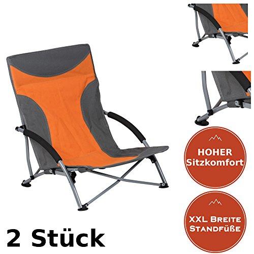 CamperWave Strandstuhl im 2er-Set | bequemer + extra Stabiler Strandstuhl | Extra breite Standfüße | Robustes 600D Rip-Stop Gewebe | Packmaß nur 15 x 18 x 77cm | inkl. Tragetasche