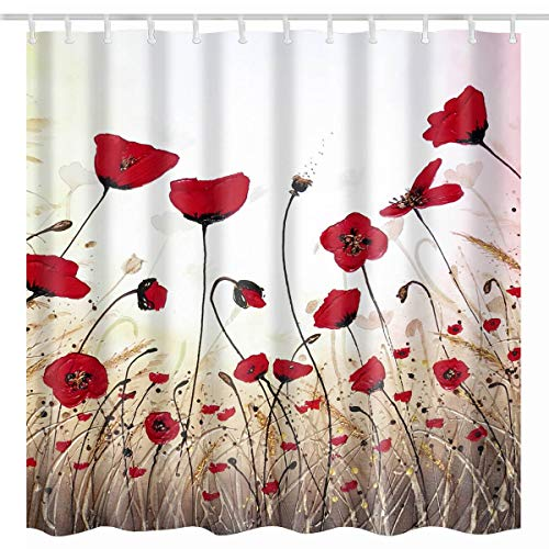 BROSHAN Vintage Flower Shower Curtain, Watercolor Red Poppy Flower Buds Petals Print Bath Curtain Fabric Waterproof , Retro Floral Bathroom Set with Shower Curtain 72 x 72 Inch