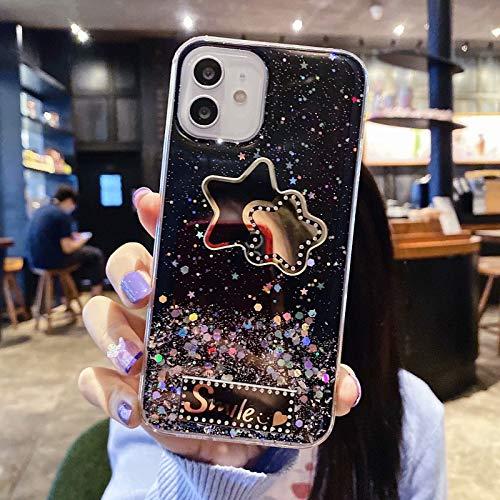 Miagon Crystal Glitzer Hülle für Samsung Galaxy S10e,Süß Bling Klar Handyhülle Durchsichtig Sparkle Sterne Case Cover Slim Dünn Schutzhülle,Stern Schwarz