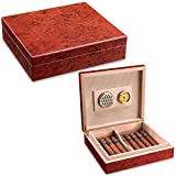 CIGARLOONG Cigar Humidor Travel Cedar Wood Cherry Desktop Box with Hygrometer and Humidifier Holds up to 15-20 Cigars