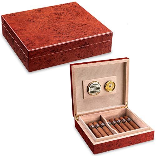 CIGARLOONG Cigar Humidor Travel Cedar Wood Cherry Desktop Box with...