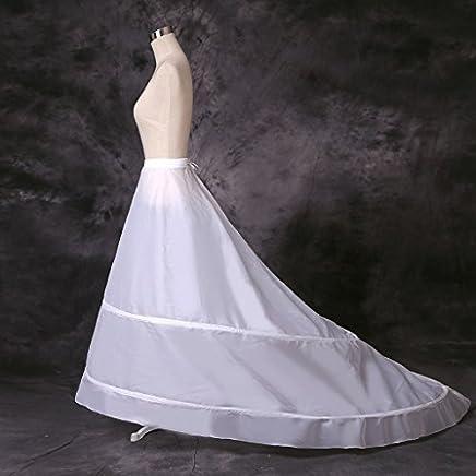 Eternal Moment Women's A-Line 2-Hoop Petticoat Underskirt Crinoline for Wedding Dress Train 9004
