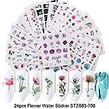 8HAOWENJU 24 Hojas/Juegos de uñas Agua engomada de la Flor del Flamenco Belleza Deslizante Bloom Modelo Planta Colorida 3D manicura Sticker (Color : STZ683 706 Set)
