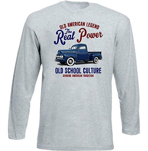 TEESANDENGINES Ford F1 Pick UP Truck Tshirt de Manga Larga Gris para...