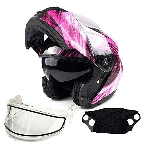 Typhoon TH158 Adult Dual Visor Modular Snowmobile Helmet DOT Full Face Flip-up (Pink, Medium)
