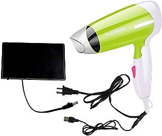 Secador de pelo plegable, motor CC, con compartimento de batería, cable USB, azul/verde