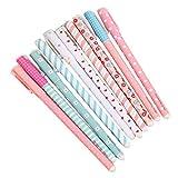 Leisial 10 Unidades Bolígrafos de Tinta Gel de Creativas Lindo Kawaii Papelería Subrayadores de Colores Multicolor (#1)