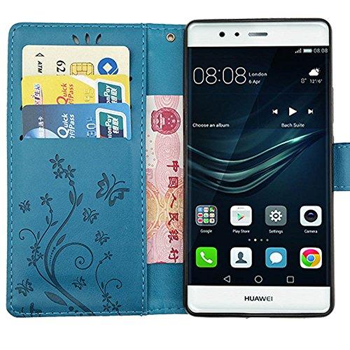 KUAWEI Huawei P9 Hülle Wallet Case Huawei P9 Hülle & Cases Flip Hüllen für Dein Huawei P9,Handy Schutzhülle Kunstleder Handycover Klapphülle mit Kartenfach und Magnetverschluss (Blau) - 3