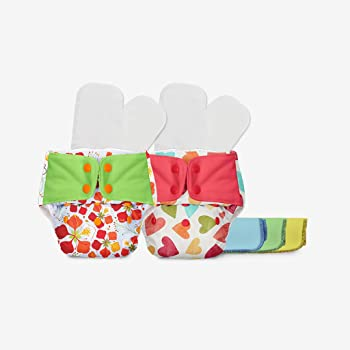 superbottoms Plus UNO Pack of 2 Diapers Shells 2 Dry Feel Organic Cotton Soakers 2 Cotton Boosters 2 Fleece Liners (Large)