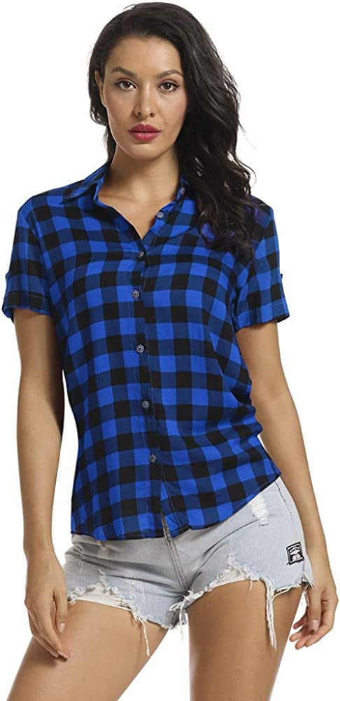OCHENTA Women's Short Sleeve Blouses Plaid Button Down Shirt Casual Summer Tops Black Blue XL