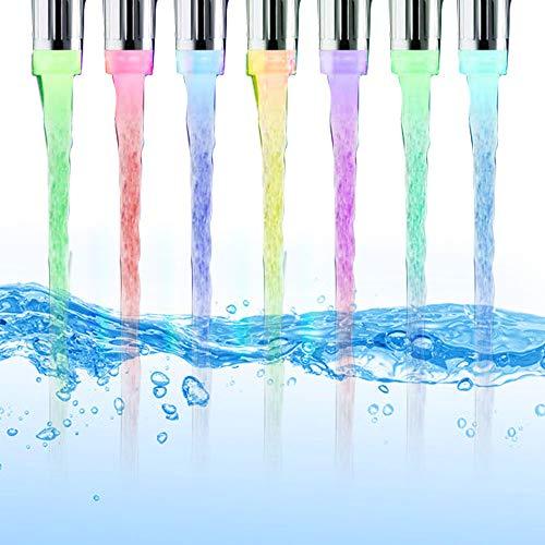 Lepeuxi Luz LED para Grifo de Agua, Corriente de Agua Automáticamente, cambian el Grifo de Agua para el baño de la Cocina
