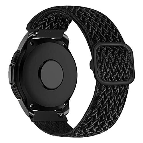 iBazal Correa Galaxy Watch 3 41mm Nylon 20mm Band Trenzada Compatible con Samsung Galaxy Watch Active2 40mm 44mm/Galaxy Watch 42mm Reemplazo para Huawei GT 2 42mm/GTR 42mm/GTS Pulsera Band - Negro