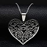 MINTUAN Árbol de la Vida Corazón Collar de Cadena de Color Plata para Mujer Collares de Acero Inoxidable Joyas Acero Inoxidable Joyeria Mujer