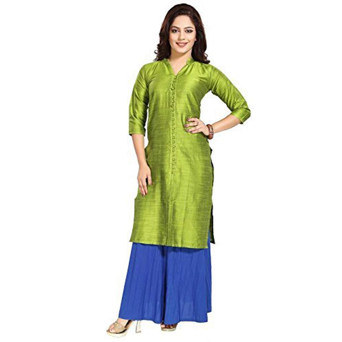 Available at Amazon: DREAM & DZIRE Indian Traditional Womans Silk Ethnic Straight Kurti for All Plus Size and Small Size