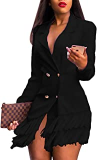 Women Casual Long Suits Jackets - Turn Down Collar Double Breasted OL Work Blazer Dress