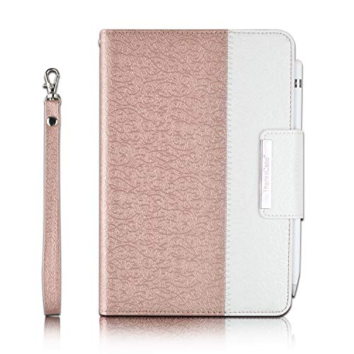 Thankscase Case for iPad Mini 5 7.9' 2019 / iPad Mini 4 2015, Rotating Case Leather Cover with Apple Pencil Holder, Swivel Case Build in Hand Strap, Wallet Pocket for iPad Mini 5th Gen (Rose Gold)
