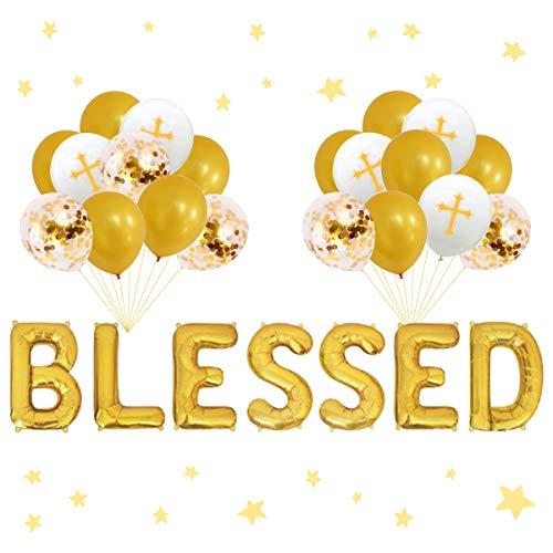 Blessed Balloon Banner Decoraciones de bautismo de oro para niños, niñas, primera comunión, baby shower, suministros para fiestas de bautizo, decoraciones de confirmación, globos cruzados