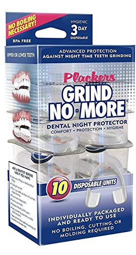 Plackers Grind No More Dental Night Protectors Mouth Guard, for Teeth Grinding, Bruxism & Teeth Clenching, BPA Free - Pack of 10 Guards, NP008
