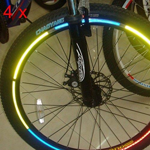 4pcs bicicleta rueda llantas Pegatinas refletoras de luz luminosos