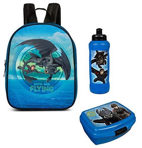 Familando Dragons - Drachenzähmen Rucksack-Set 3tlg. mit Brot-Dose und Trink-Flasche für Kinder-Garten / Krippe Freizeit blau Drache Ohnezahn Higs