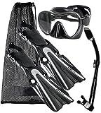 Mares Volo Power Fin Mask Snorkel Scuba Diving Gear Set