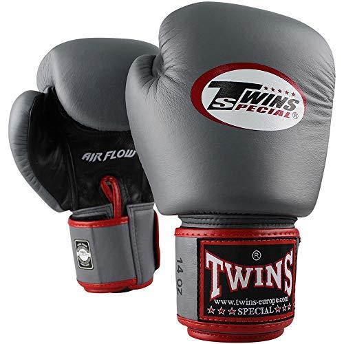 Twins Boxhandschuhe, Leder, AIR, grau-schwarz Größe 14 Oz