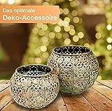Flanacom Orientalische Vintage Teelichthalter Orientalisches Marokkanisches Windlicht antikfarben aus Metall - Dekoration für die Wohnung - 2 Windlichter ohne Tablett - 2