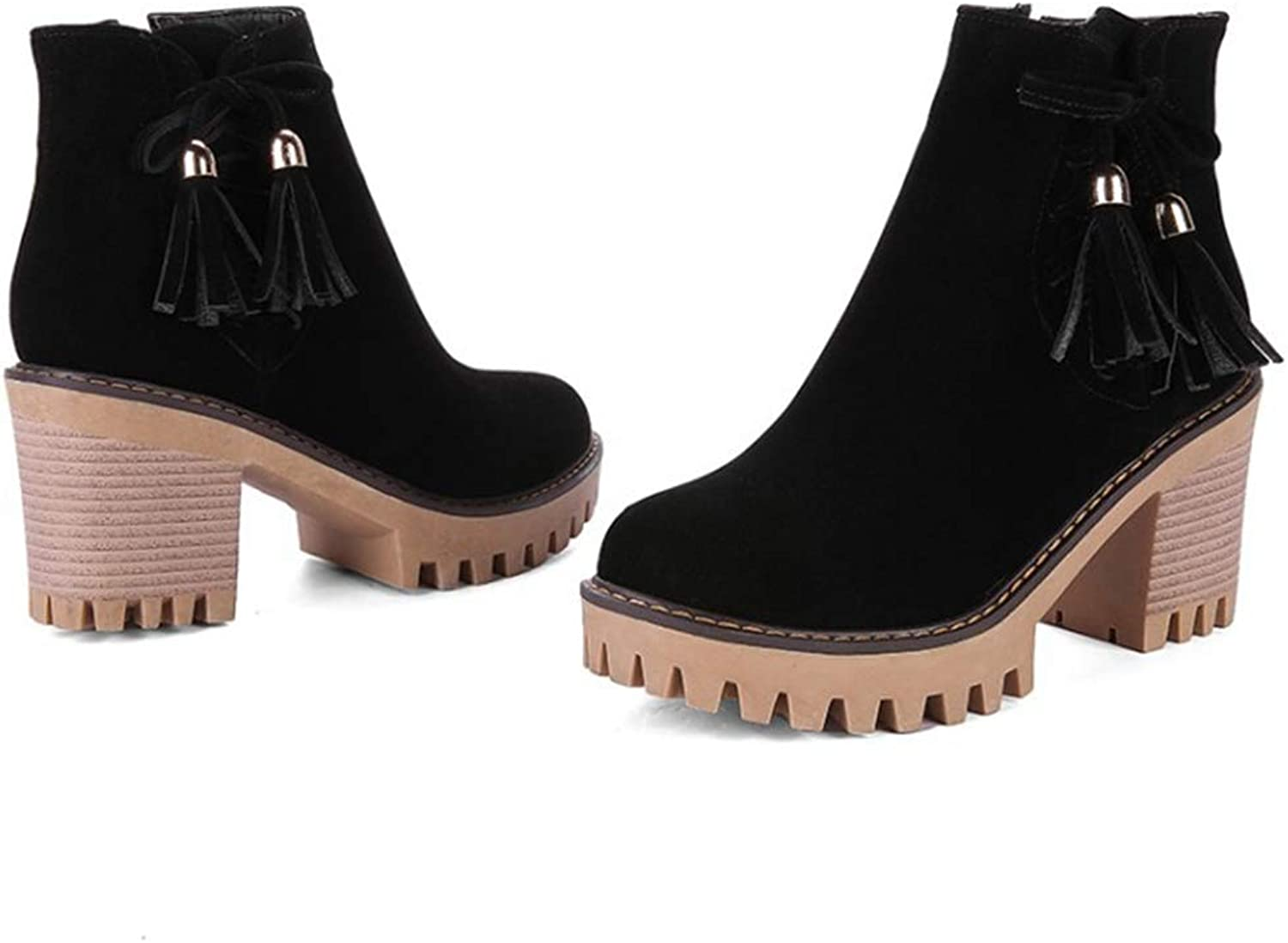 Sam Carle Women Boots, Suede Tassel Zip Closure Thick Heel Pointed Toe Ankle Boots