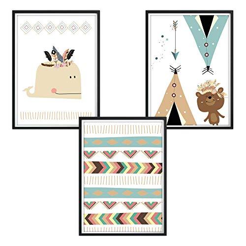 Set con 3 carteles A4, decoración de la habitación de los niños, coloridos animales indios de luvel