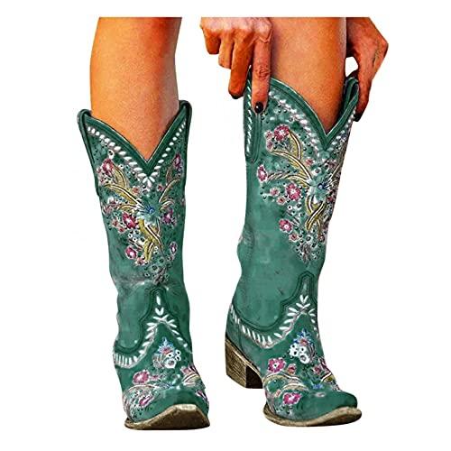 Binggong Westernstiefel Damen Vintage Cowboystiefel mit Trichterabsatz Stickereien Schlupfstiefel Halbhoch Damenstiefel Biker Stiefel Mode Damen-Boots Winterstiefel Halbhohe Stiefel