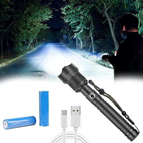 Linternas LED recargables, 90000 linternas tácticas de alto lúmenes con baterías incluidas y linterna de mano súper brillante de 3 modos para acampar, emergencias