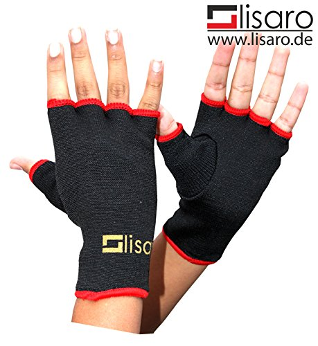 Lisaro Schlupfbandagen, Faustbandagen, elastische Innenhandschuhe für Boxhandschuhe, Innenhandschuh, Innenboxhandschuhe, Handbandagen, Boxbandagen, 1 Paar, schwarz/rot, Bandagen, Kickboxen (XL)