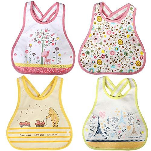 KF Baby Lot de 4 coton doux imperméable absorbant pour verrou de bavoirs Drooler de