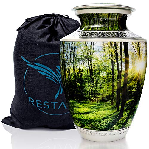 Peaceful Forest Cremation Urns for Human Ashes Adult Large. Urn for Memorial, Funeral or Burial. Restaall for Peace of Mind