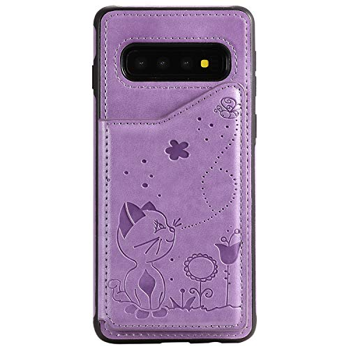 Cfrau Wallet Case with Black Stylus for Samsung Galaxy S10,Stylish 3D Cat Bee Flower Print PU Leather Soft Bumper Reinforced Drop Resistant Shockproof Stand Card Holder Case,Purple