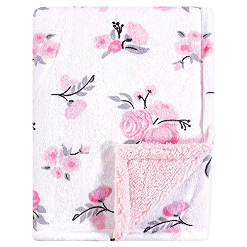 Hudson Baby Unisex Baby Plush Blanket with Sherpa Back, Pink Floral, One Size