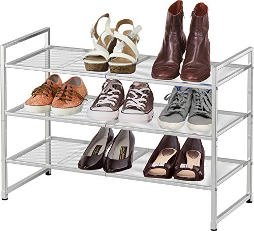 Simple Houseware 3-Tier Stackable Shoe Shelves Storage Utility Rack, Silver